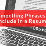 Compelling Phrases to Include in a Resume, red banner over a computer